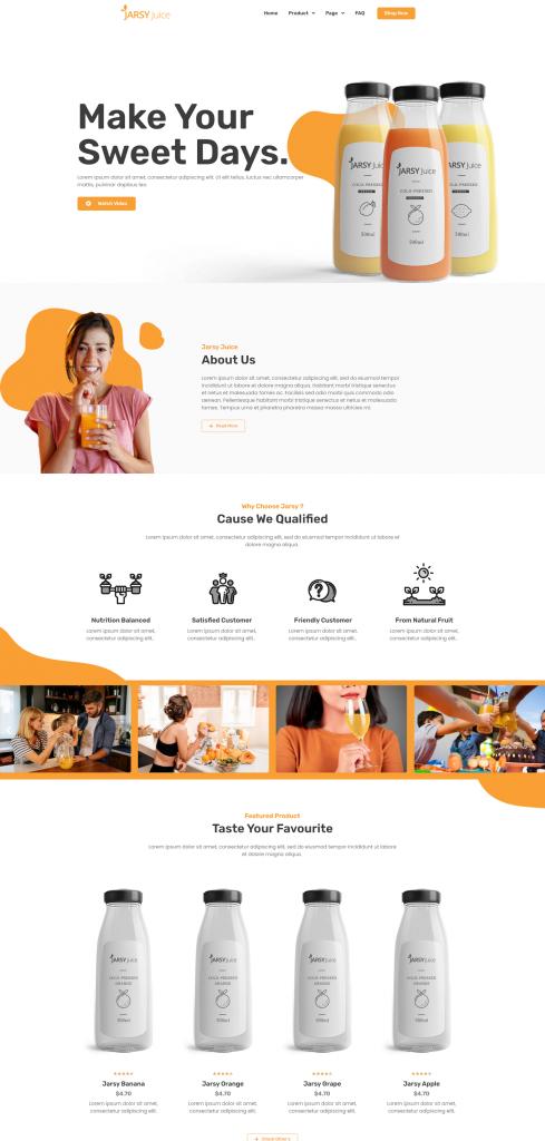 Jarsy Juice - Mẫu Website Cho Cửa Hàng Nước Uống